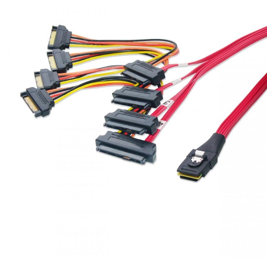 miniSAS → SAS/SATA ファンアウトケーブル SATA電源 50cm saj-directstore