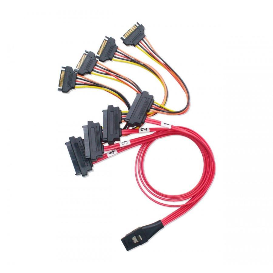 miniSAS → SAS/SATA ファンアウトケーブル SATA電源 50cm saj-directstore 04