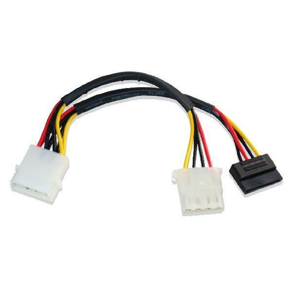 5インチ4ピンメス、シリアルATA分岐 電源ケーブル SATA III対応|saj-directstore