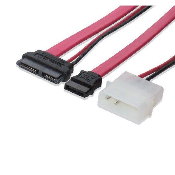 Slimline SATA⇔SATA、5インチ用4ピン電源変換ケーブル50cm|saj-directstore
