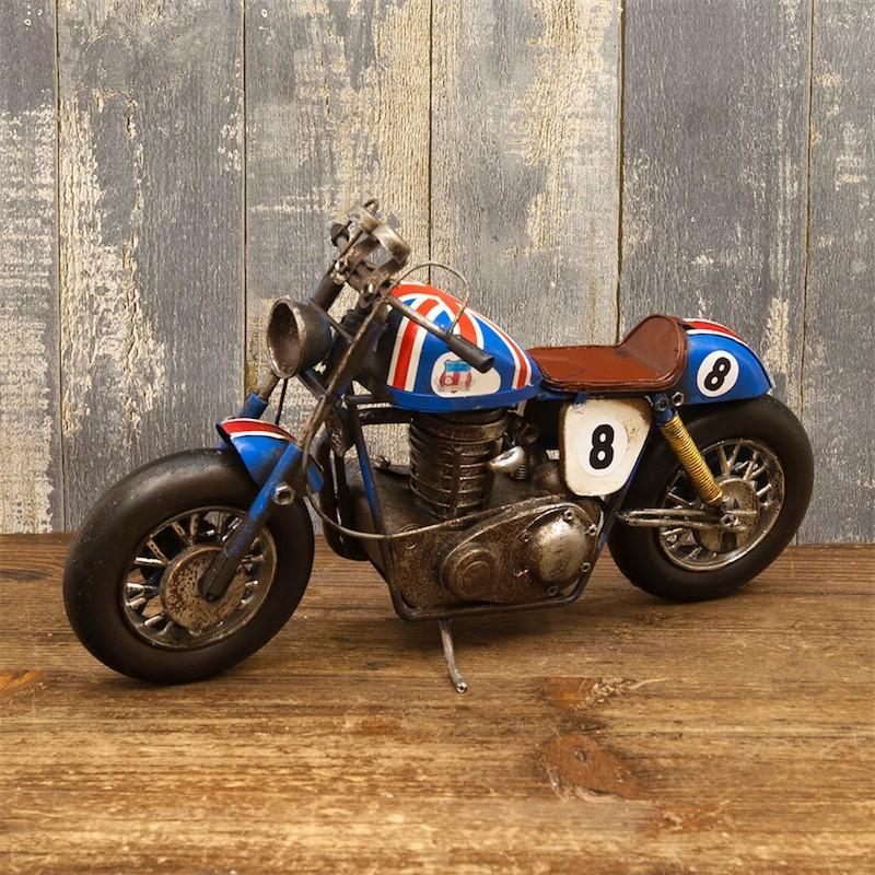 アンティーク バイク ブリキおもちゃ 模型 オブジェ アメリカ雑貨 イギリス国旗 オールドバイク レース