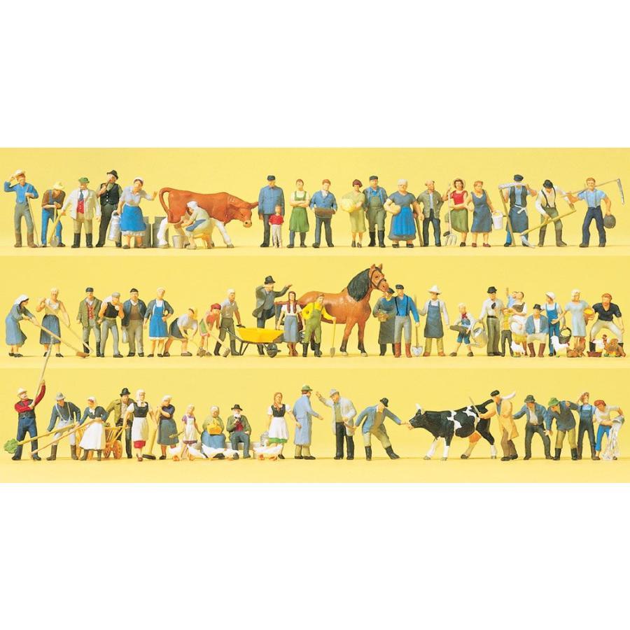 農場の人たち、動物 60体 :プライザー 塗装済完成品 HO(1/87) 13001