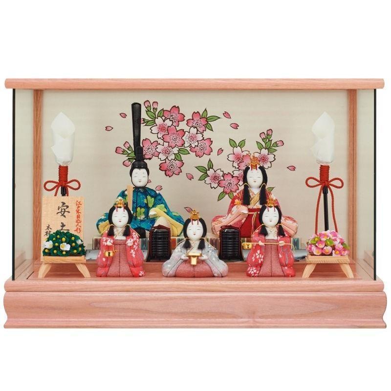 雛人形 一秀 江戸木目込み人形 五人揃い ケース入り 幅43.5cm i-34-i1