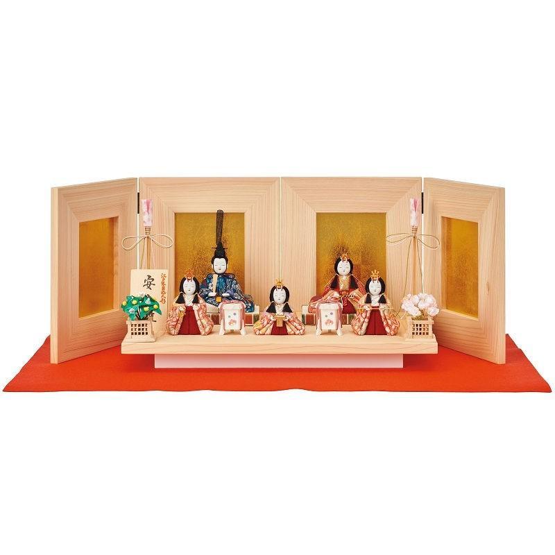 雛人形 一秀 江戸木目込み人形 五人揃い 平飾り 幅65cm i-39-i7