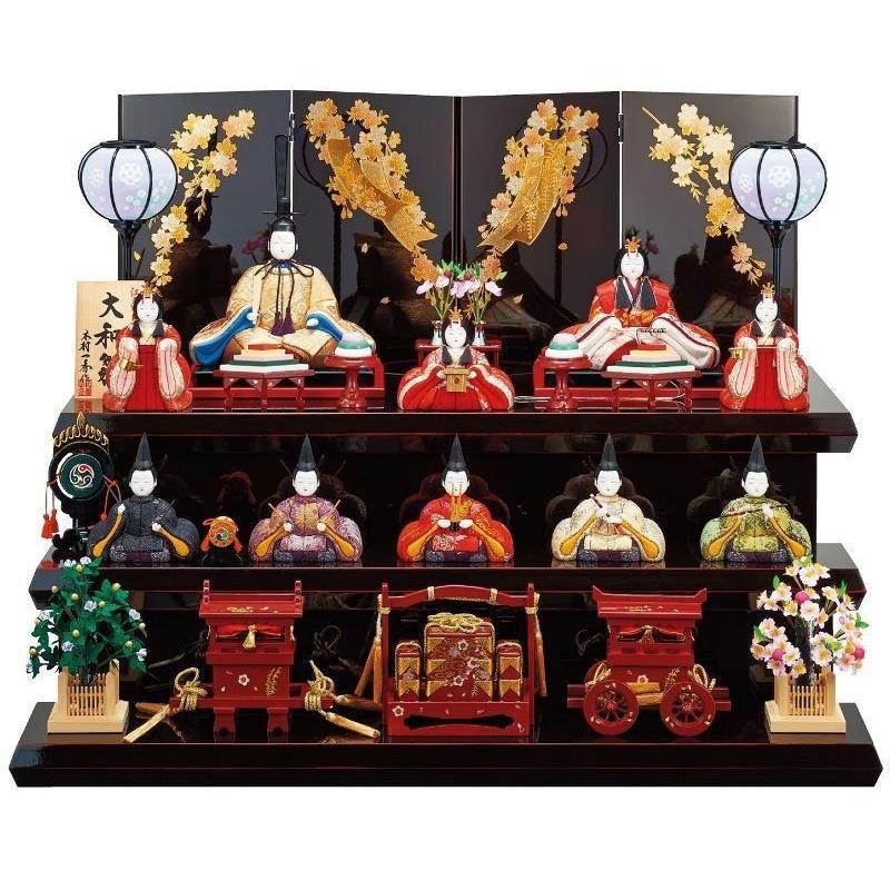 雛人形 一秀 江戸木目込み人形 十人揃い 三段飾り 幅80cm i-42-k17