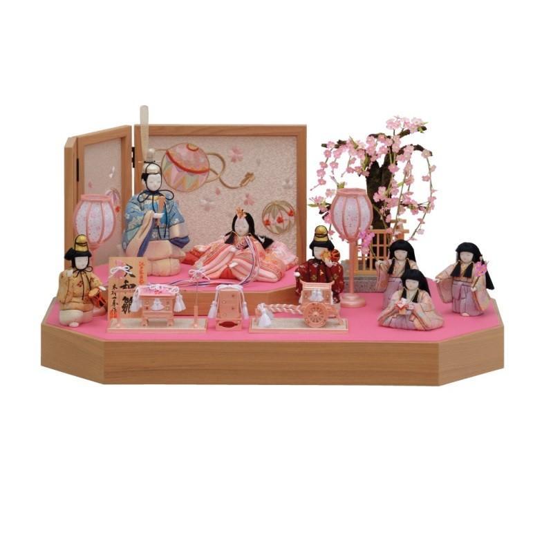 雛人形 一秀 江戸木目込み人形 七人揃い 平飾り 幅60cm i-40-k1