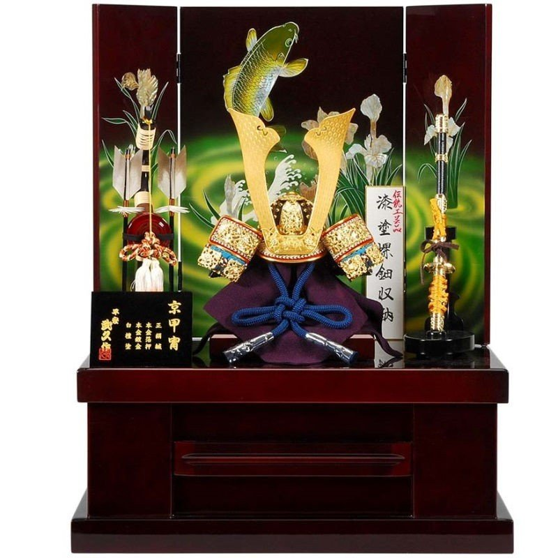 五月人形 兜 収納飾り 武久 幅50cm sb-18-158