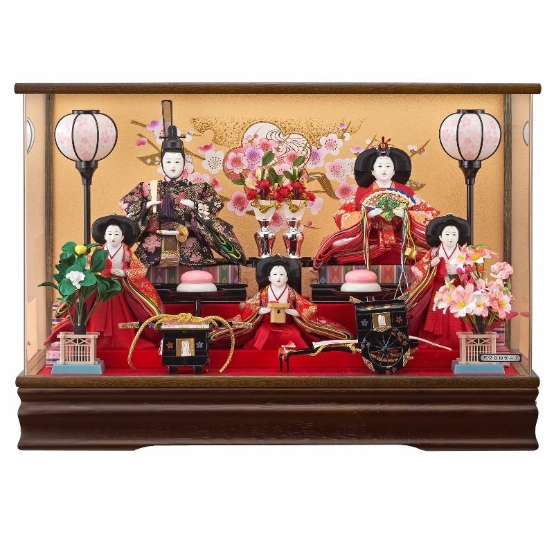 雛人形 5人ケース入り のぞみ三五芥子五人飾り栓欅焦茶(オルゴール付き) fn-28 ケース入 ケース飾