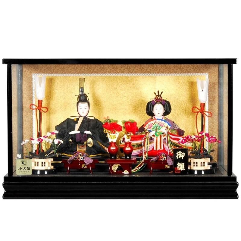 雛人形 親王ケース入り 新徳川雛黒塗り sb-11-130 親王ケース飾 親王ケース入