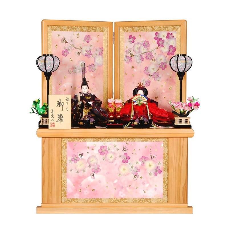 新発売の sb-14-175 雛人形 親王収納飾り 乙女桜(おとめざくら)セット天竜杉押花屏風 親王収納飾-季節玩具