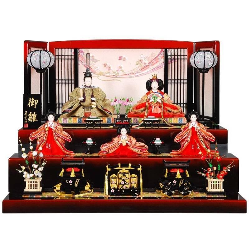 雛人形 5人収納飾り せいかセット黒/パール赤塗り花のしめ屏風 sb-17-207