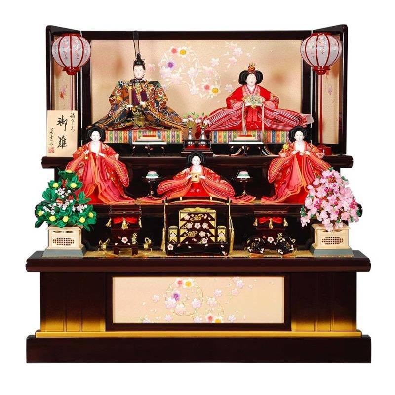 雛人形 5人三段飾り 舞桜(まいざくら)セット葡萄/金塗り刺しゅう金彩花丸屏風 sb-3-37
