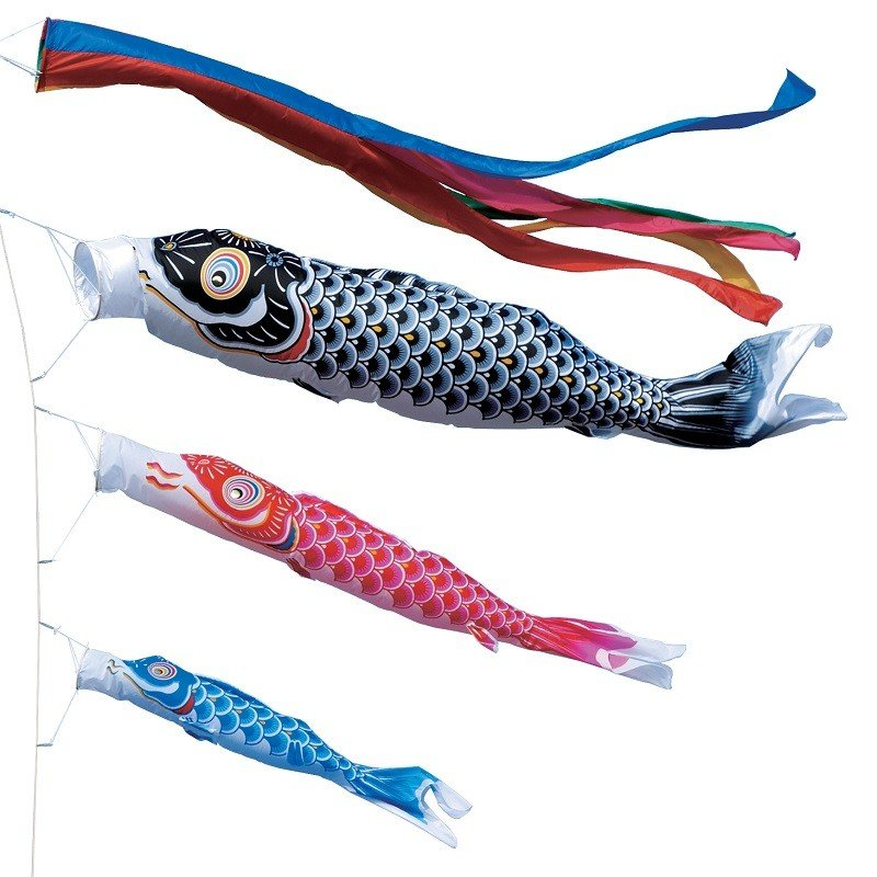 東旭 鯉のぼり 庭園用 ポール別売り 大型鯉 10m鯉3匹 ナイロン鯉 五色吹流し