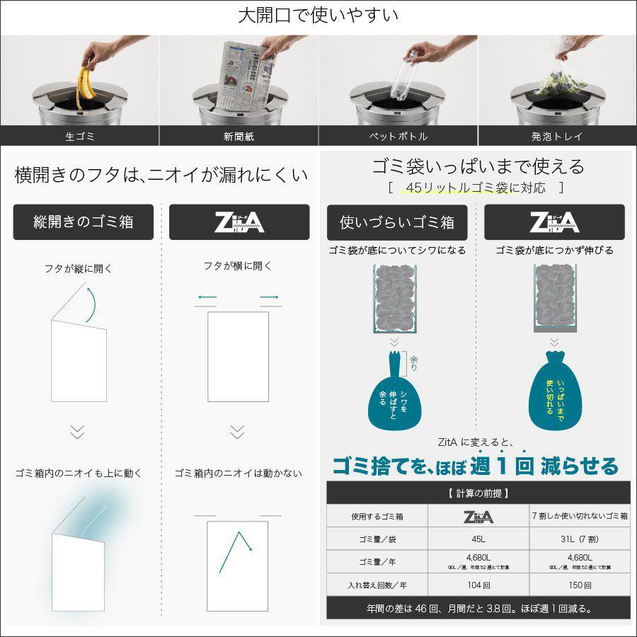 ひらけ、ゴミ箱 ジータ ゴミ箱 自動 ZitA 自動ゴミ箱 センサー ダストボックス おしゃれ リビング キッチン ステンレス ふた付き 45リットル 45l sakuradome 06