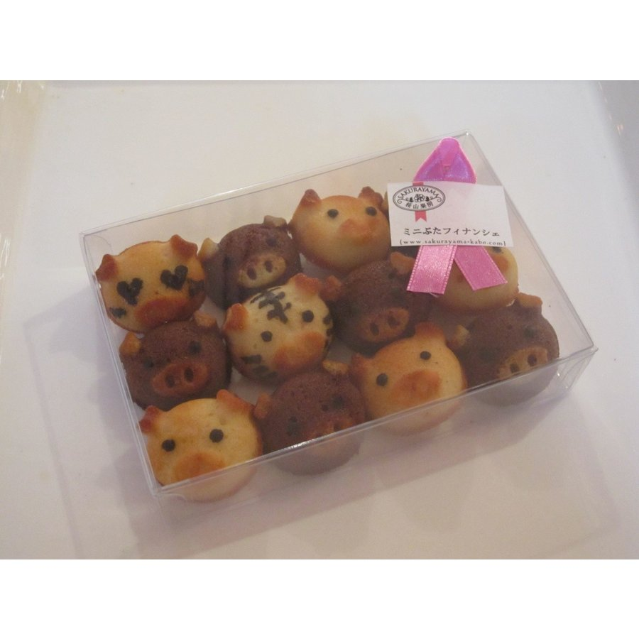こぶたのフィナンシェ(12匹箱入り)*小さなお子様にも安心の無添加焼き菓子。いろんな顔のぶたがいます。レアキャラに会えるかな?|sakurayamakabo|02