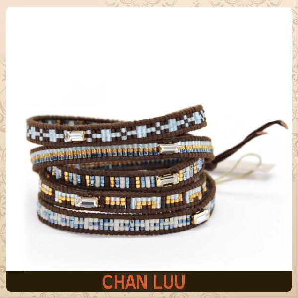 公式サイト チャンルー ChanLuu ブレスレット 5ラップ 5連 ブラウンレザーコードにブルー系 クリアクォーツをミックス メンズ/レディース 正規, キタガタチョウ 88955a83