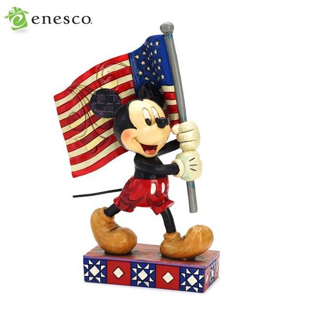 エネスコ ディズニートラディション 国旗を持ったミッキーマウス 木彫り調フィギュア ミッキーマウス ギフト 出産祝い 男の子 女の子 おもちゃ 誕生日 1歳 2歳