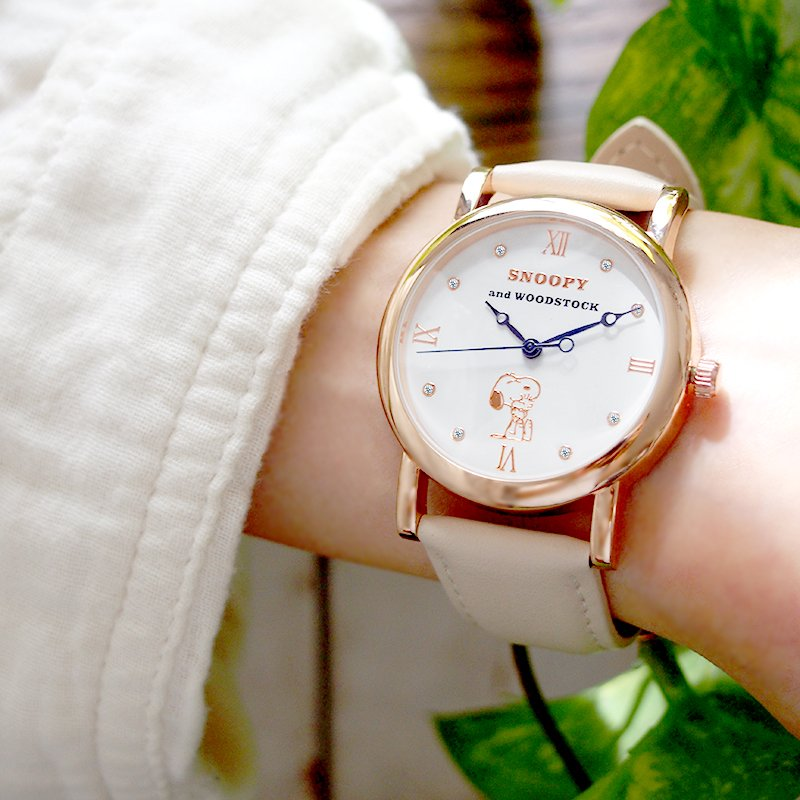スヌーピー グッズ 腕時計 レディース メンズ スワロフスキー ユニセックス ウッドストック 革 レザー ピーナッツ 犬 鳥 ポイント10倍|salon-de-kobe|12