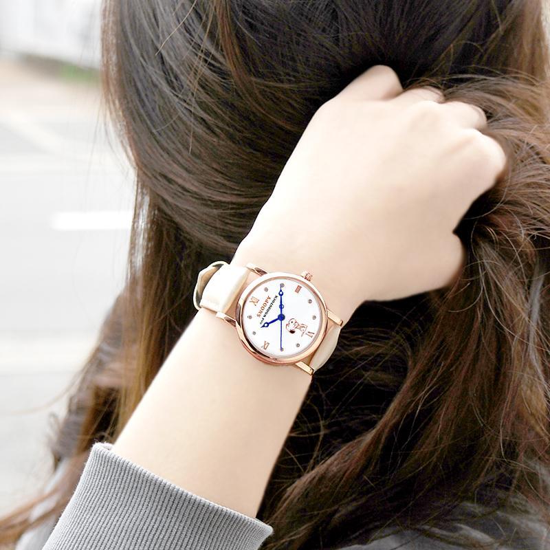 スヌーピー グッズ 腕時計 レディース メンズ スワロフスキー ユニセックス ウッドストック 革 レザー ピーナッツ 犬 鳥 ポイント10倍|salon-de-kobe|13
