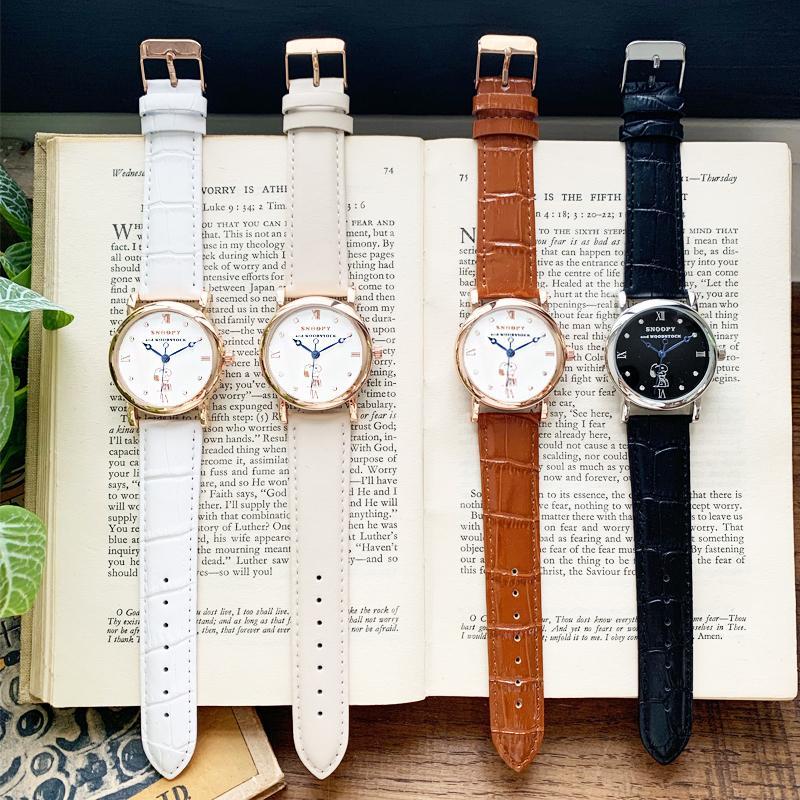 スヌーピー グッズ 腕時計 レディース メンズ スワロフスキー ユニセックス ウッドストック 革 レザー ピーナッツ 犬 鳥 ポイント10倍|salon-de-kobe|07