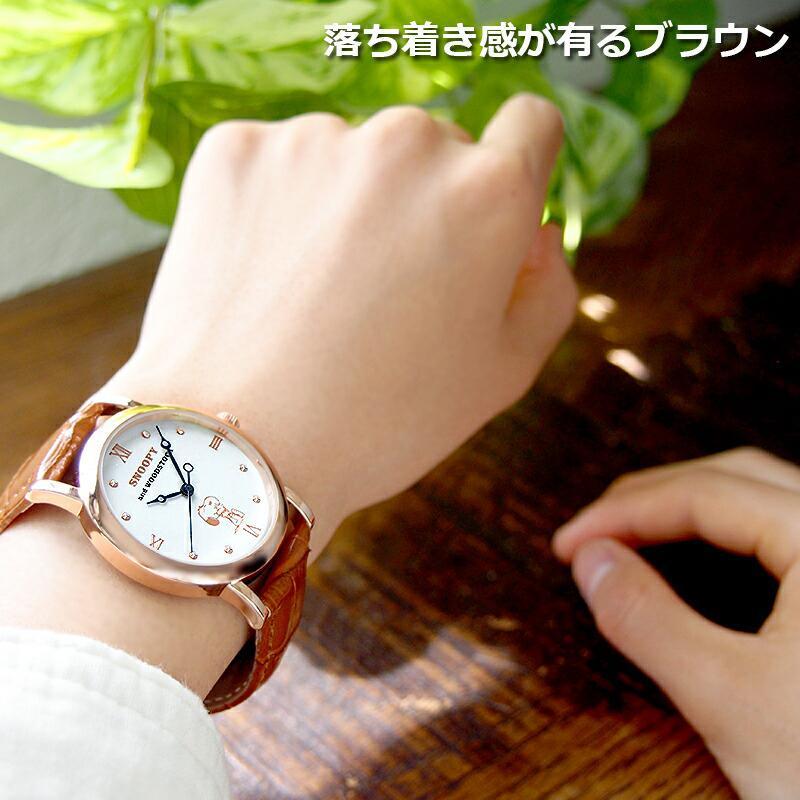 スヌーピー 腕時計 グッズ メンズ レディース ブランド スワロフスキー ウッドストック 革 レザー ピーナッツ 犬 鳥 ユニセックス salon-de-kobe 11