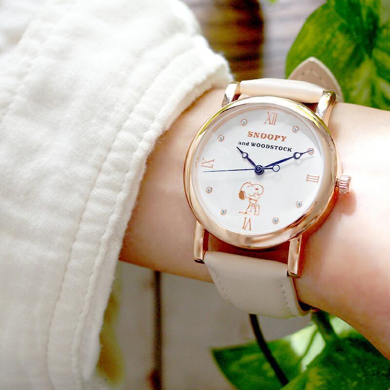 スヌーピー 腕時計 グッズ メンズ レディース ブランド スワロフスキー ウッドストック 革 レザー ピーナッツ 犬 鳥 ユニセックス salon-de-kobe 14