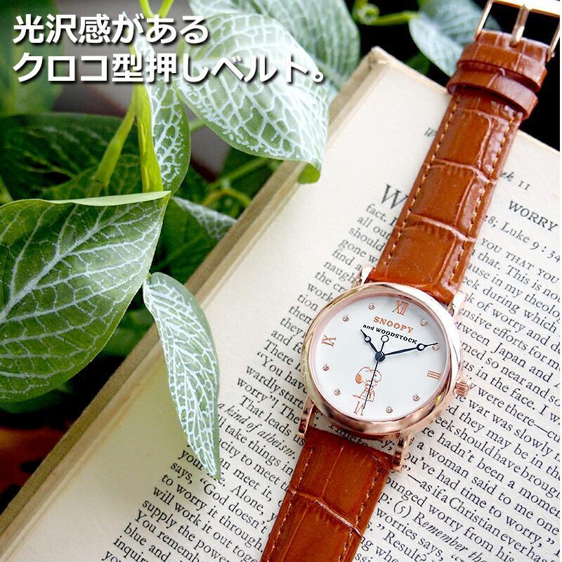 スヌーピー 腕時計 グッズ メンズ レディース ブランド スワロフスキー ウッドストック 革 レザー ピーナッツ 犬 鳥 ユニセックス salon-de-kobe 08