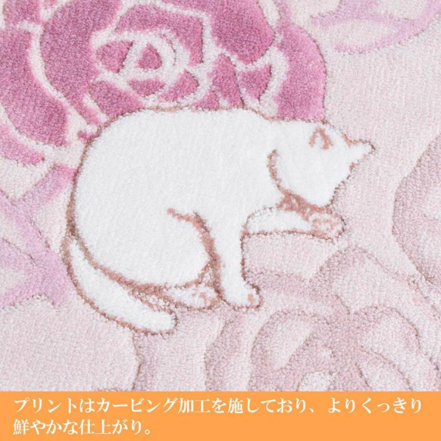 洗える 抗菌・防臭 防滑「ローズ&キャット」ラグ 130×190cm 日本製|san-luna|03