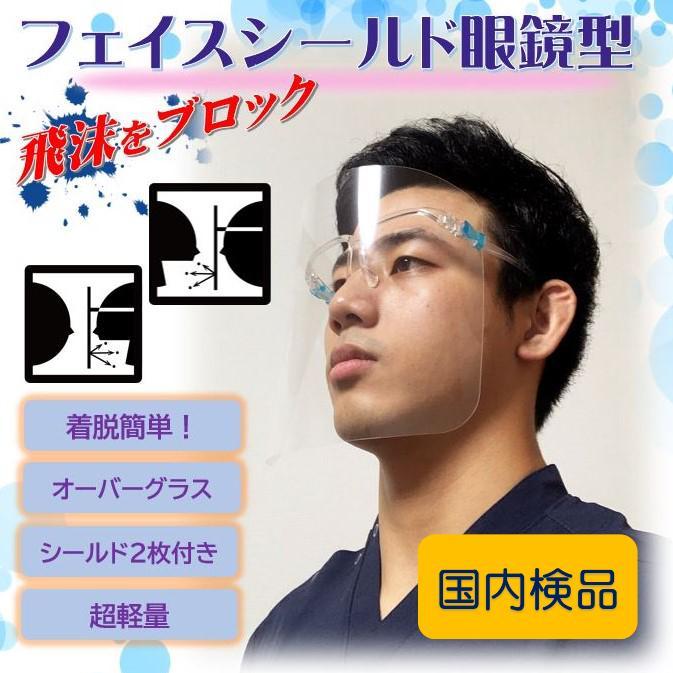 フェイスシールド眼鏡型(シールド2枚付き)翌日発送 飛沫ブロック メガネ型 国内検品 シールド取替 医療介護 店舗 蒸れない 帽子併用可|san-smile