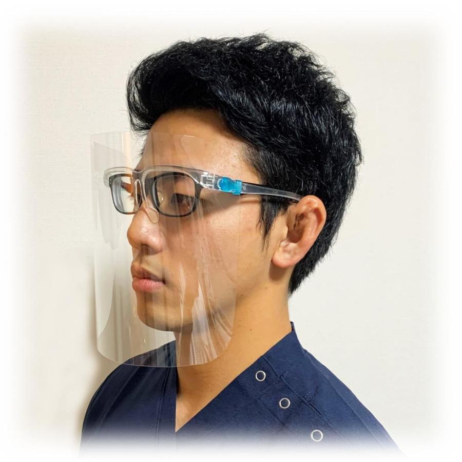 フェイスシールド眼鏡型(シールド2枚付き)翌日発送 飛沫ブロック メガネ型 国内検品 シールド取替 医療介護 店舗 蒸れない 帽子併用可|san-smile|05