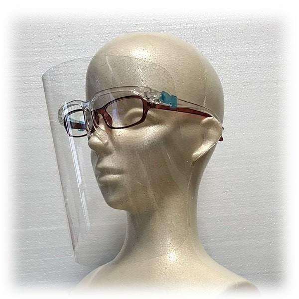 フェイスシールド眼鏡型(シールド2枚付き)翌日発送 飛沫ブロック メガネ型 国内検品 シールド取替 医療介護 店舗 蒸れない 帽子併用可|san-smile|09