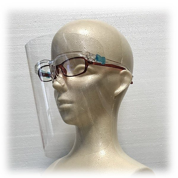 フェイスシールド眼鏡型(シールド2枚付き)×5個セット 翌日発送 飛沫ブロック メガネ型 国内検品 医療 介護 店舗 レジ業務 帽子併用可能 san-smile 11