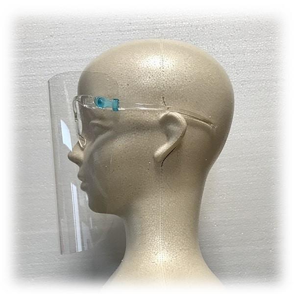 フェイスシールド眼鏡型(シールド2枚付き)×5個セット 翌日発送 飛沫ブロック メガネ型 国内検品 医療 介護 店舗 レジ業務 帽子併用可能 san-smile 12