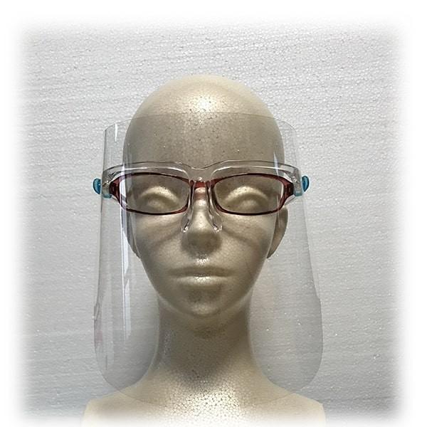 フェイスシールド眼鏡型(シールド2枚付き)×5個セット 翌日発送 飛沫ブロック メガネ型 国内検品 医療 介護 店舗 レジ業務 帽子併用可能 san-smile 09