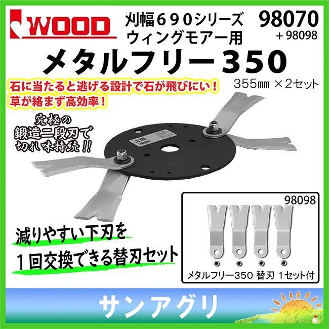 アイウッド (98070+98098) メタルフリー350 本体+替刃(4枚)セット iwood  ウイングモアー替刃