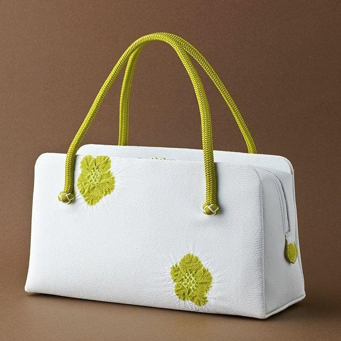小田巻飾り 輪出し梅絞り 利休バッグ 白地×緑 お茶席·結婚式·パーティー等の礼装·フォーマルな場にも。