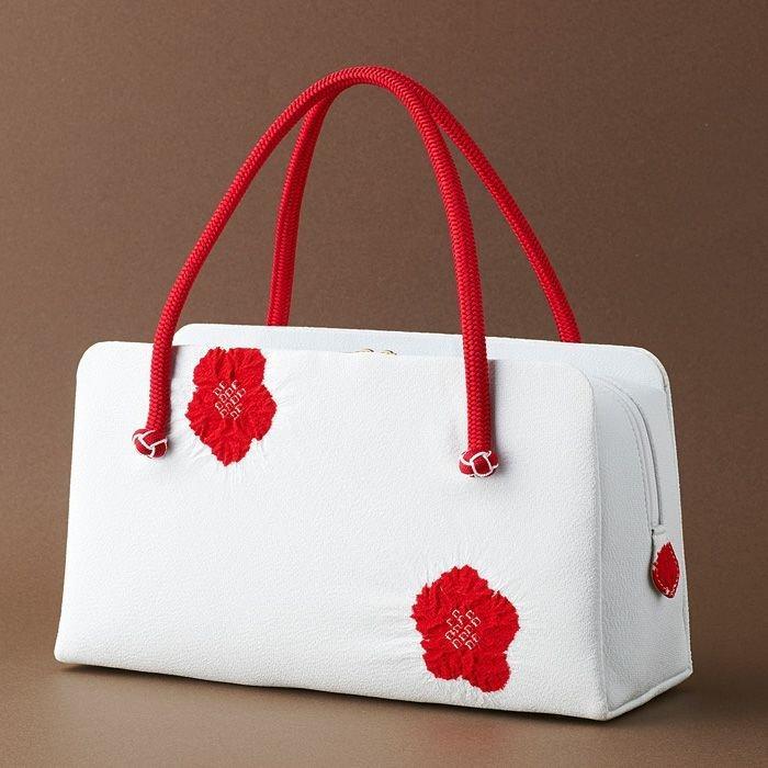 小田巻飾り 輪出し梅絞り 利休バッグ 白地×赤 お茶席·結婚式·パーティー等の礼装·フォーマルな場にも。