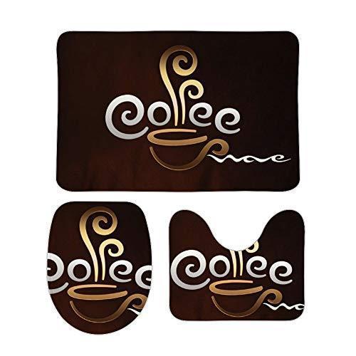 コーヒーカップへようこそ 柔らかい 快適な 3ピースバスルームマットセット バスマット+台座マット+トイレシ? sanchan-kaoruchan