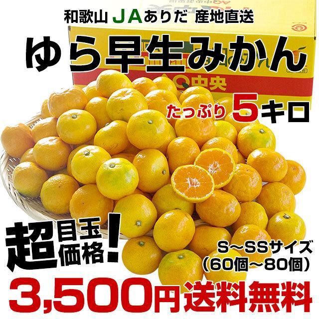 和歌山県より産地直送 JAありだ ゆら早生みかん 5キロ SからSSサイズ 蜜柑 ミカン 送料無料 sanchokudayori 02