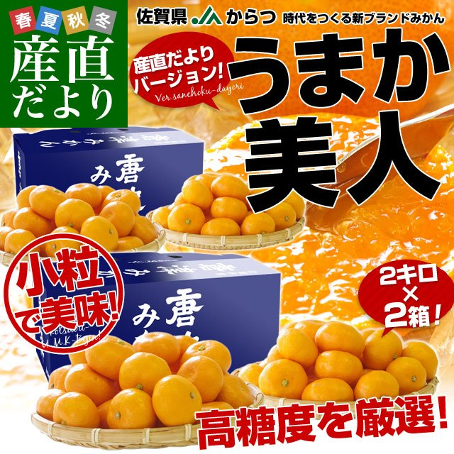 佐賀県より産地直送 JAからつ 小粒うまか美人 高糖度みかん Sから3Sサイズ  約2キロ×2箱  送料無料 U・M・K美人 蜜柑 温州ミカン sanchokudayori