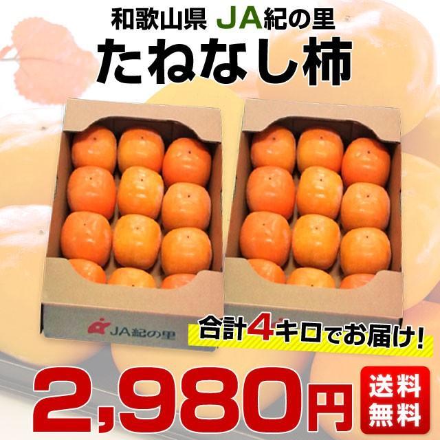 和歌山県より産地直送 JA紀の里 たねなし柿 合計4キロ 2キロ×2箱 (10玉から12玉入り×2箱) カキ かき 柿 送料無料 sanchokudayori 02