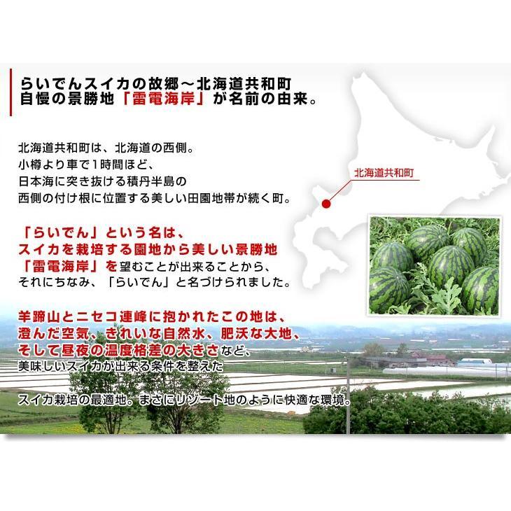 北海道より産地直送 JAきょうわ らいでんスイカ 超特大 優品5Lサイズ 10キロ以上 すいか 西瓜 送料無料 sanchokudayori 05