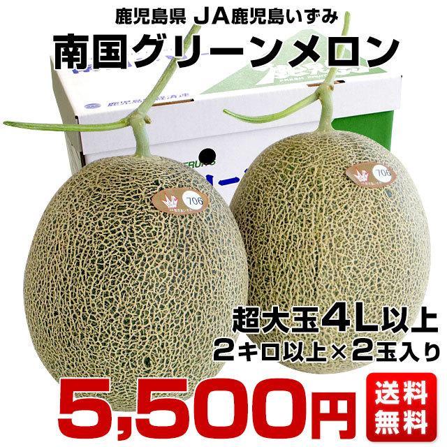 鹿児島県より産地直送 JA鹿児島いずみ 南国グリーンメロン 4L以上 2キロ以上の超大玉×2玉 送料無料|sanchokudayori|02