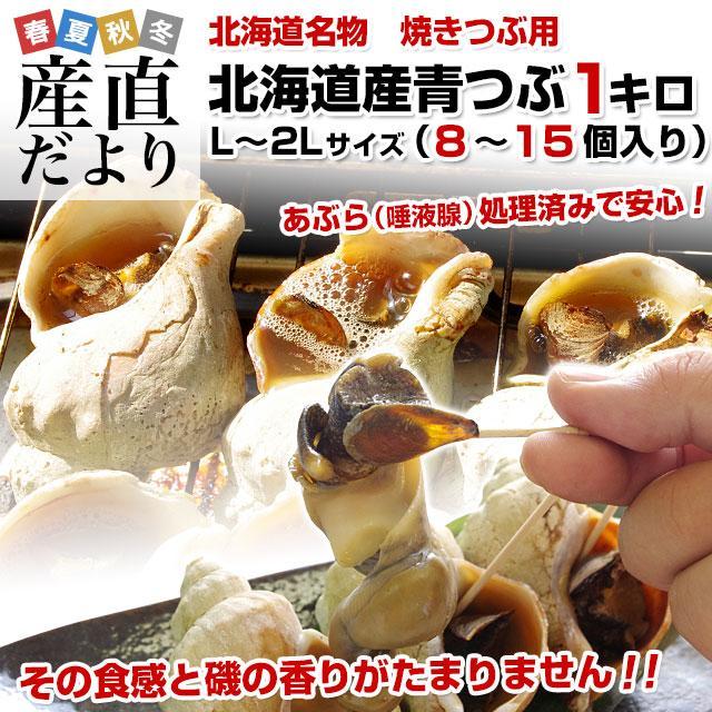 北海道産 青つぶ 焼きつぶ用(あぶら処理済み・ボイル)Lから2Lサイズ 約1キロ(8から15個入り)送料無料|sanchokudayori