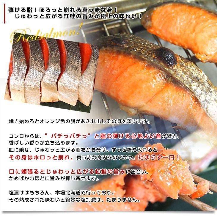 北海道加工 天然紅鮭 <中辛> 半身 姿切り身 約800g 送料無料 ロシア産|sanchokudayori|04