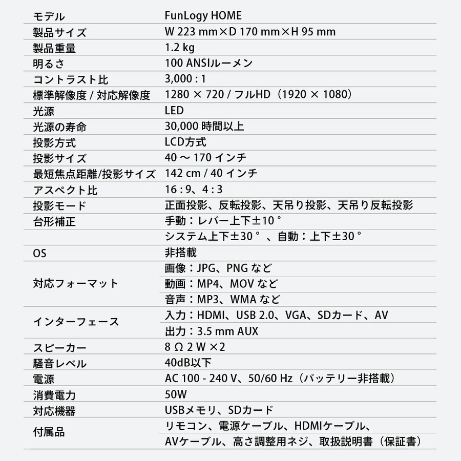 プロジェクター 小型 本体 家庭用 ビジネス モバイル 安い 高画質 3300ルーメン 自動台形補正 スマホ iPhone PC HDMI FunLogy HOME|sandlot-books|21