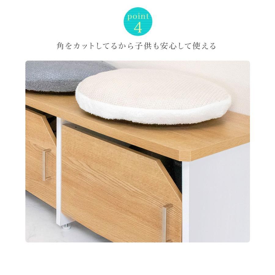 玄関ベンチ 幅51cm ブラウン 木製 玄関 椅子 靴箱 ナチュラル 日本製|sangostyle|07