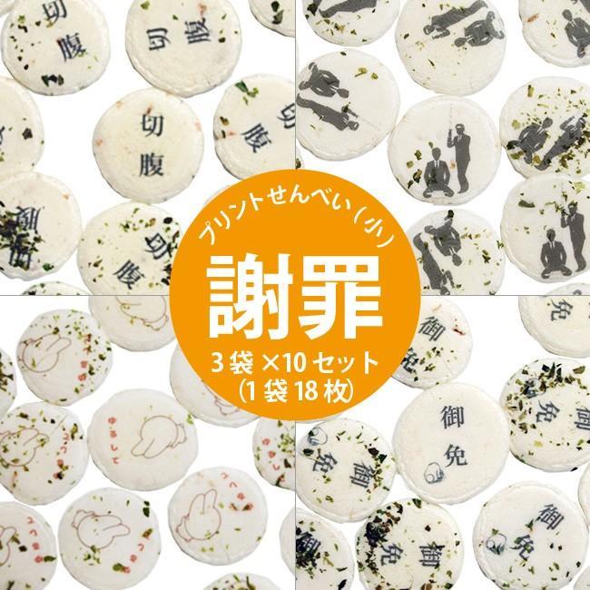 プリントせんべい(小) 《謝罪》 3袋(1袋18枚)|sankaian