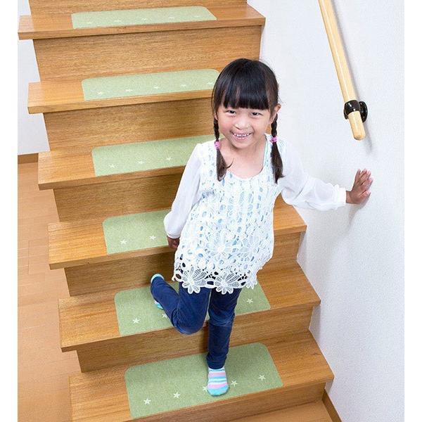 階段マット 滑り止め 防音 おしゃれ ペット 犬 オシャレ 蓄光 介護 高齢者 転倒防止 洗える 日本製 15枚組 おくだけ吸着 サンコー ずれない sanko-online 05