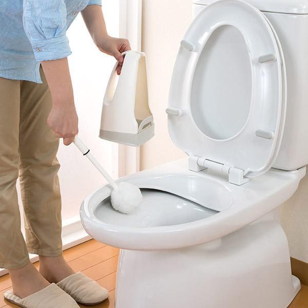 トイレブラシ おしゃれ 人気 清潔 掃除 収納ケース付 傷がつきにくい Pro仕様 サトミツ棒 サンコー やわらか  ホワイト びっくりフレッシュ 日本製 BH-41 sanko-online 02